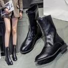 馬丁靴女前拉鍊短筒中筒內增高白色網紅瘦瘦短靴鞋子秋冬季2019新款