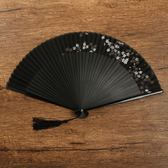 扇子折扇中國風復古風精致鏤空木質檀香竹裝飾小夏季正韓隨身迷你