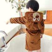 兒童睡袍冬季小男孩浴袍法蘭絨加厚卡通寶寶男童珊瑚絨睡衣中大童  科炫數位