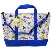 〔小禮堂〕史努比 帆布橫式手提袋側背袋《米藍.滿版》肩背袋.購物袋 4548387-17881