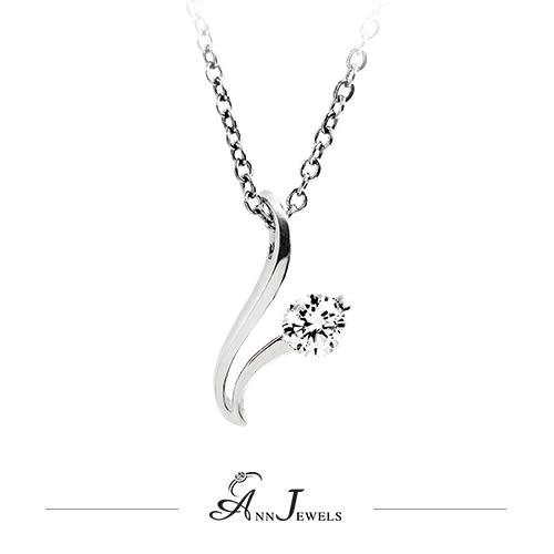 【AnnJewels‧925純銀‧流線單鑽.鋯石/鑽石項鍊】可客製化鑽石珠寶銀飾禮品