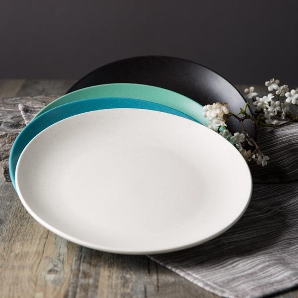 陶典創意陶瓷盤子點心盤日式平盤圓盤西餐盤家用菜盤盤子4只裝