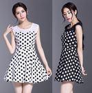洋裝 韓版圓點印花高腰無袖百褶連身裙 2色 S-XL #ynn6698 ❤卡樂store❤