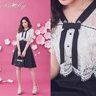 洋裝 假兩件蕾絲蝴蝶結短袖洋裝-Ruby...