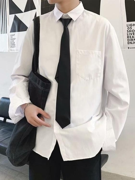長袖襯衫白色長袖襯衫男寬鬆情侶套裝韓版潮流港風學生班服休閒學院風襯衣 JUST M