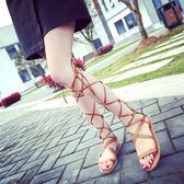 交叉綁帶涼鞋2017夏季網紅新款韓版女鞋平底平跟羅馬高筒長筒涼靴