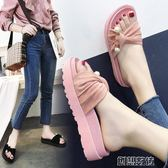 拖鞋女夏季外穿厚底平底學生時尚防滑韓版涼拖鞋  創想數位