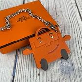 BRAND楓月 HERMES 愛馬仕 限定款 橘色 皮包造型 KELLY DOLL 吊飾 鑰匙圈 皮飾 包包配件