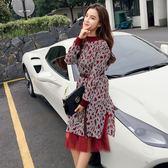 VK精品服飾 韓系針織拼接網紗假兩件氣質復古長袖洋裝