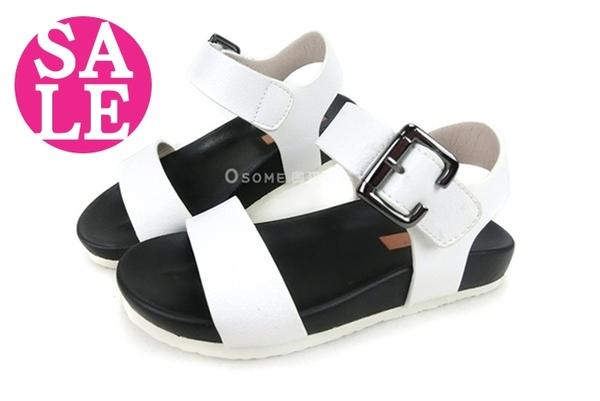 女童涼鞋 韓版 中童涼鞋 魔鬼氈涼鞋 零碼出清 H6990#白◆OSOME奧森童鞋/小朋友