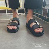 個性字母拖鞋男士時尚一字拖