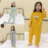 兒童連體衣純棉長袖薄款防著涼睡衣【不二雜貨】