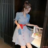 洋裝 夏季輕熟風氣質V領格紋連身裙女腰帶修身顯瘦中長裙