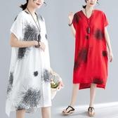 新品 夏季 新款 民族風女裝寬鬆復古印花V領短袖中長版洋裝 連身裙 聖誕裝飾8折
