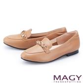 MAGY 嚴選牛皮金屬鍊樂福 女 平底鞋 棕色