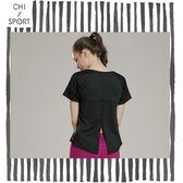 Chi sport後開叉T桖女短袖排汗速乾健身運動後背開叉超透氣圓領衫黑色白色(CST18021)