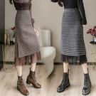 復古毛呢格子半身裙秋冬女中長款開叉一步裙高腰顯瘦包臂網紗長裙 百分百