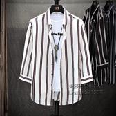 豎條紋襯衫男夏季七分袖中袖襯衣短袖韓版五分夏裝上衣外套潮寸衫【小艾新品】