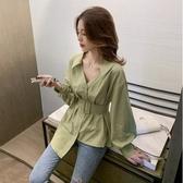 早秋系帶長袖綠色襯衫女寬松百搭襯衣不規則網紅上衣342#ZLE35-A紅粉佳人