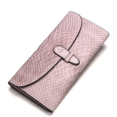 真皮皮夾(長夾)-鱷魚紋純色牛皮薄款女手拿包6色73ny11【巴黎精品】