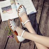 涼鞋女 森女繫鞋子平底學生包頭粗跟百搭中跟女鞋 薔薇時尚