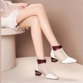 尖頭靴 2020新款包頭網紗短靴女粗跟鏤空單鞋尖頭女士涼靴中跟涼鞋女(速度出貨)
