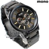 mono 蒲公英系列 三眼多功能圓錶 羅馬時刻 不銹鋼帶 IP黑電鍍 男錶 3200IP黑金