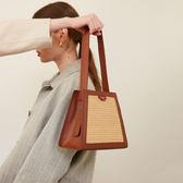 設計梯型編織拼接水桶手提包包女2019新款百搭單肩斜挎包