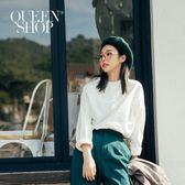 Queen Shop【01023136】素面純色中山領單邊口袋襯衫 兩色售*現+預*