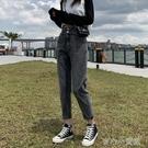 牛仔褲女 煙灰色牛仔褲女直筒寬松高腰顯瘦秋裝2020年新款哈倫老爹蘿卜褲子 育心小館