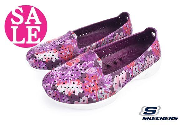 skechers女鞋 水陸鞋 H2 GO系列 花卉 透氣輕量洞洞鞋 零碼出清O8200#紫紅◆OSOME奧森童鞋
