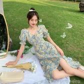 碎花洋裝 2020新款開叉心機裙子收腰顯瘦長裙V領泡泡袖碎花雪紡洋裝女夏 快速出貨