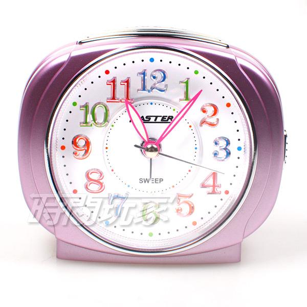 MASTER 台灣製造 方型 精美鬧鐘 連續秒針 超靜音 貪睡 燈光 LED強光數字面板 JM-E503粉