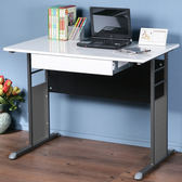 Homelike 巧思辦公桌-亮面烤漆100cm(附抽屜)桌面:白/桌腳:白/飾板:灰
