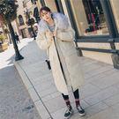 連帽外套-長版舖棉大毛領寬鬆直筒女夾克2...