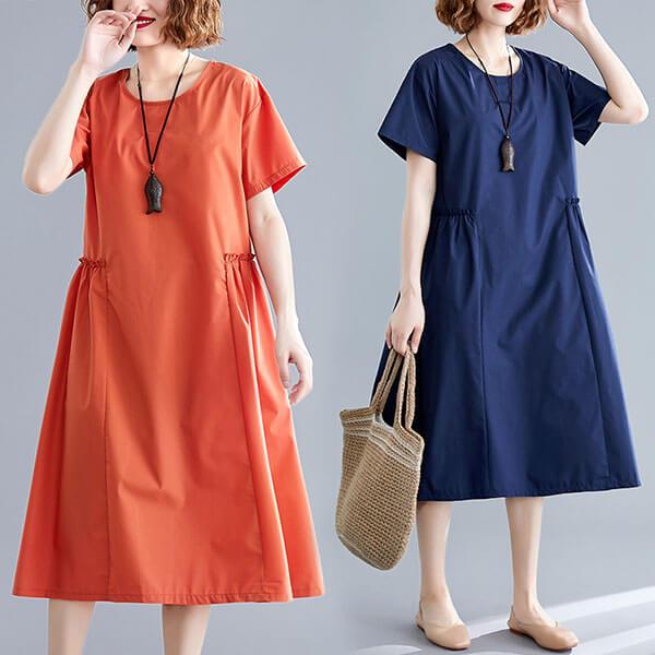 素色顯瘦版型腰打摺洋裝 獨具衣格 J2618