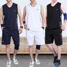 休閒套裝男運動健身跑步夏季休閒裝寬鬆無袖背心青少年服裝運動服 布衣潮人