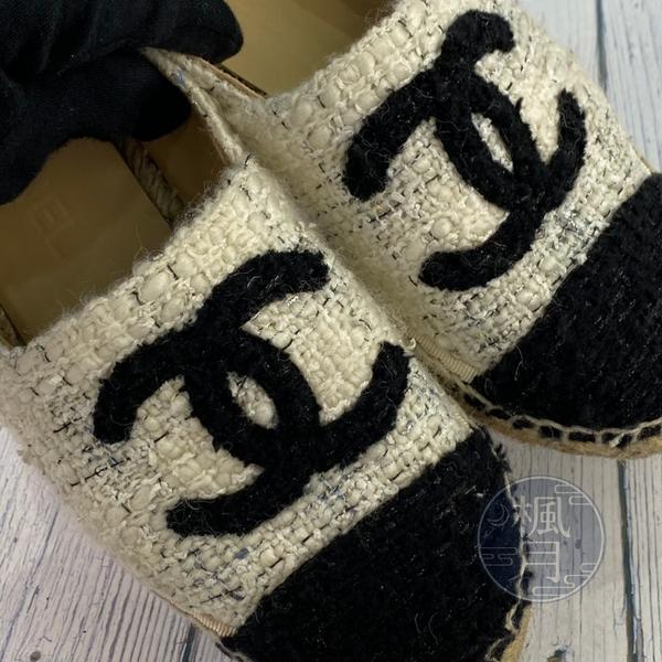 BRAND楓月 CHANEL香奈兒 米白黑色 經典 LOGO 軟呢 草編鞋 平底鞋 #37