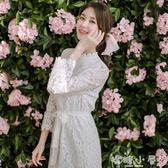 洋装秋冬新款韓國白色鏤空蕾絲洋裝長袖長款繫帶超仙過膝打底裙  嬌糖小屋