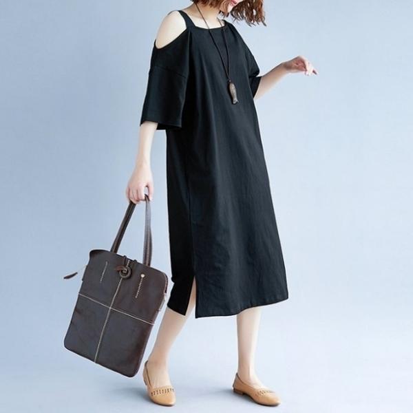 漂亮小媽咪 露肩洋裝 【D5566】 過膝裙 裸肩 短袖洋裝 五分袖 落肩 孕婦裝 連身裙