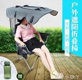 摺疊椅子戶外遮陽便攜式椅休閒沙灘導演員椅靠背釣魚野露營凳成人 NMS蘿莉小腳ㄚ