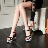 厚底涼鞋 坡跟涼鞋超高跟防水臺女鞋大小碼厚底 巴黎春天