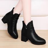 馬丁靴女英倫風粗跟高幫短靴