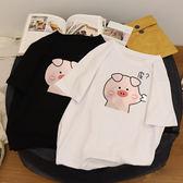 情侶裝 情侶白色t恤女短袖夏裝2019新款ins超火原宿b寬鬆半袖百搭上衣潮