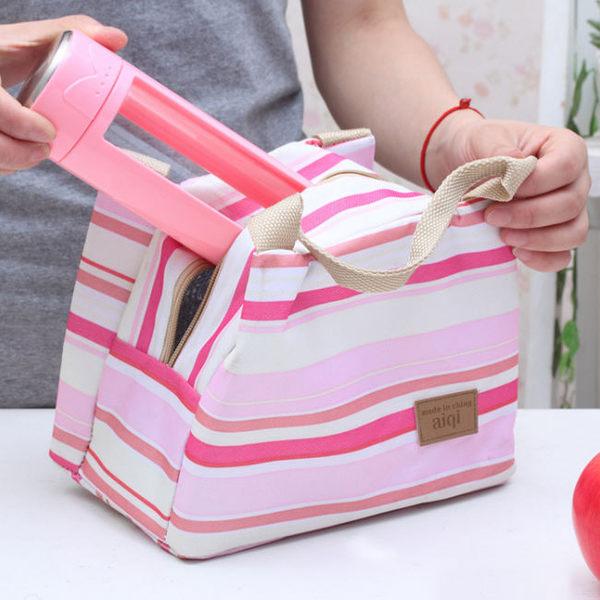 《J 精選》時尚條紋保溫便當袋/野餐袋