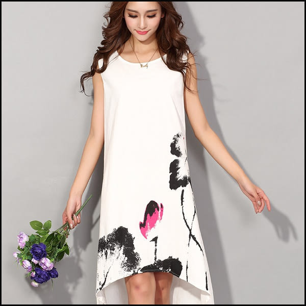 中大尺碼寬鬆洋裝連身裙★ifairies【46055】