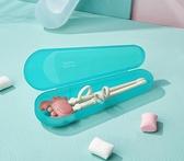 寶寶筷子盒餐具收納盒兒童帶蓋便攜盒裝學生勺叉子筷子 歐韓流行館