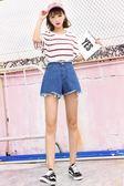 高腰牛仔大碼胖mm學生顯瘦韓版百搭寬鬆闊腿超短褲女    琉璃美衣