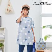 【Tiara Tiara】百貨同步新品aw  下雨天雨傘印花長版上衣(藍/紫)