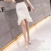 魚尾裙半身裙女春夏時尚超仙氣質高腰不規則蕾絲包臀裙 科炫數位